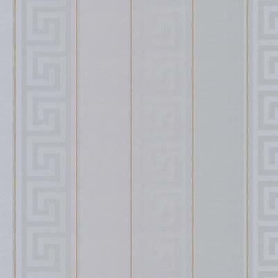 935245 - Versace Greek Key Striped Grey Gold AS Creation Wallpaper