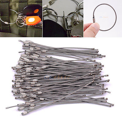 "100PCS 6"" Rope Key Chains Ring Stainless Steel Wire Cable Keychain Loop DIY Tool"