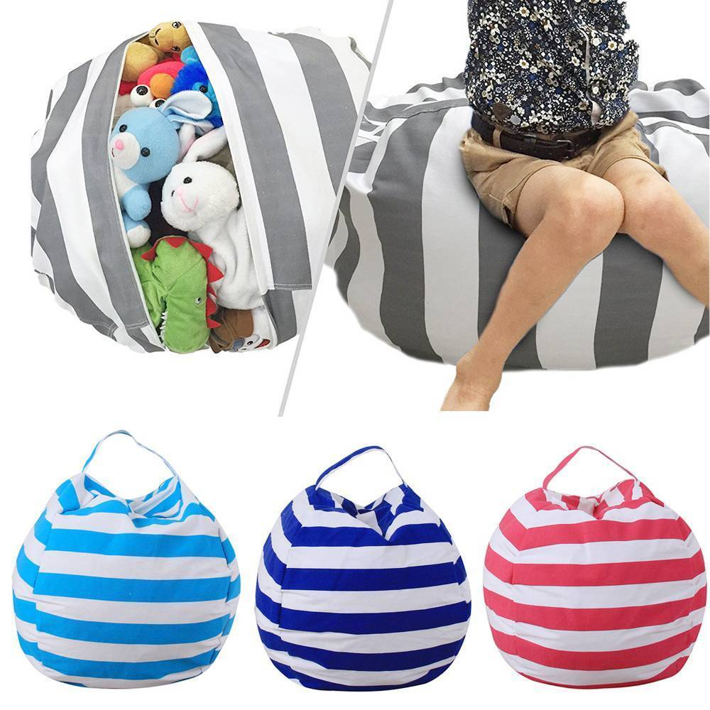 Stripe Fabric Stuffed Plush Toy Storage Bean Bag, Large