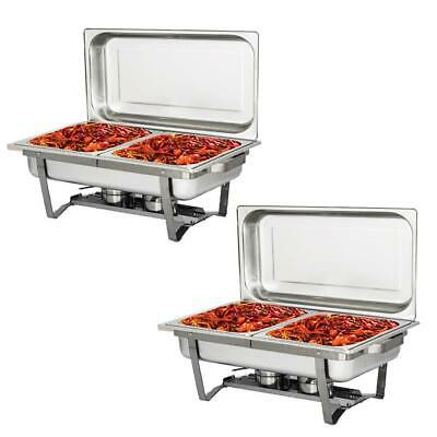 2 Pack 4 L 4.2 Quart Stainless Steel Rectangle Chafing Dish Full Size Chafer