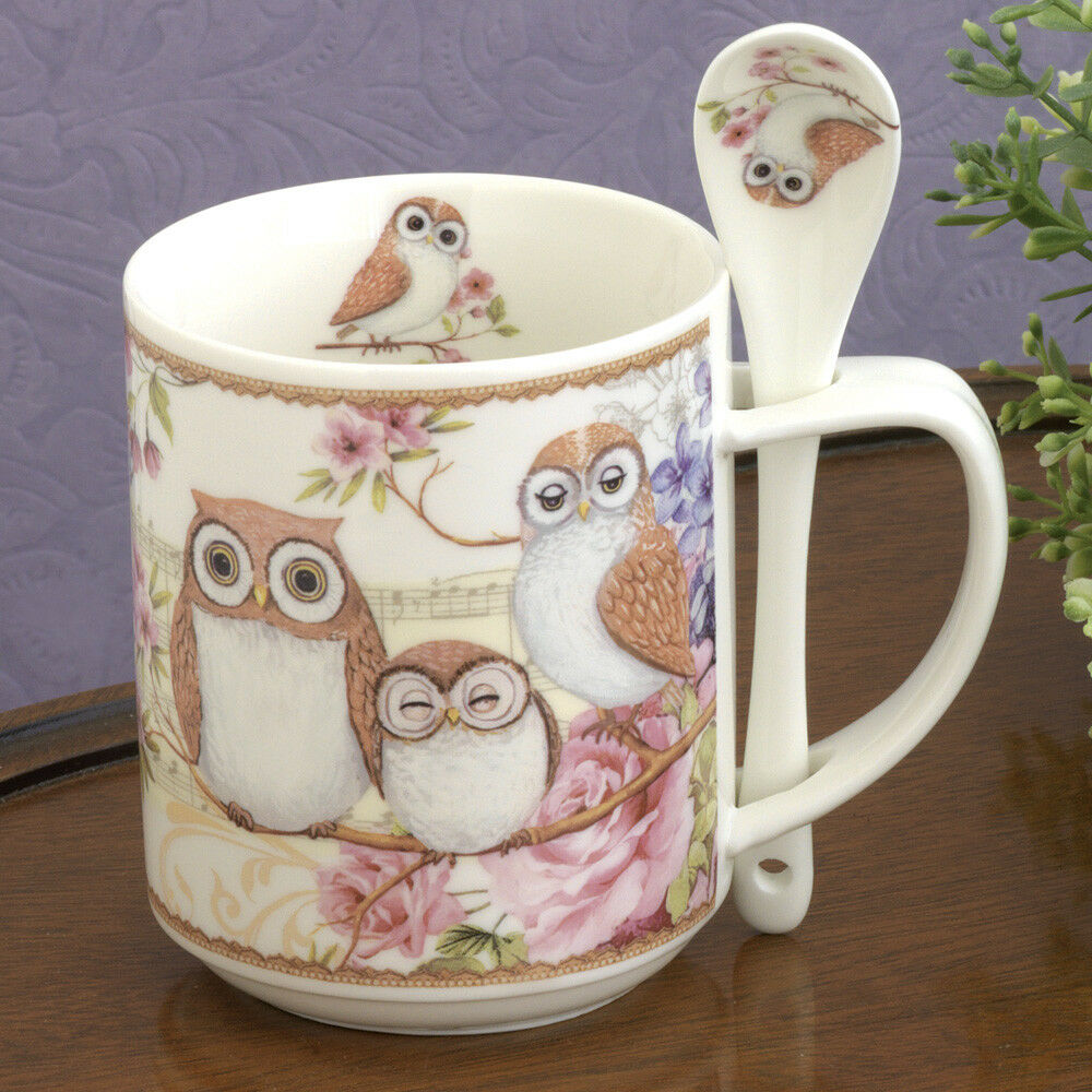 Bits and Pieces-Porcelain Owl Mug with Teaspoon-10oz Coffee