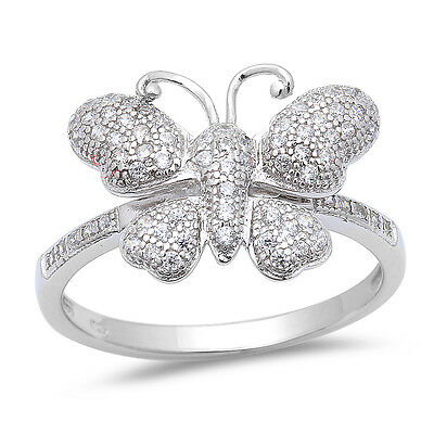 Pave Set Cute! Cz Butterfly .925 Sterling Silver Ring Sizes