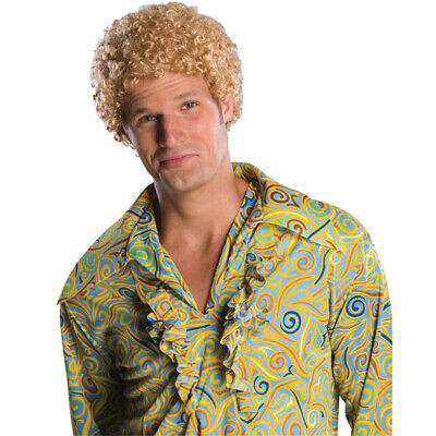 Blonde Afro Wig Costume (Tight Fro Wig Mens Blonde Adult Will Ferrell Afro 1970's Disco Costume)