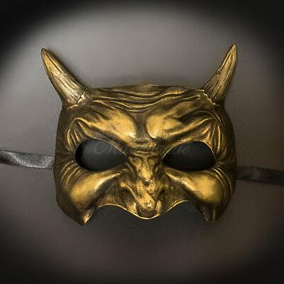 Devil Demon Masquerade Mask Halloween Costume Prom Ball Mask Gold M31020