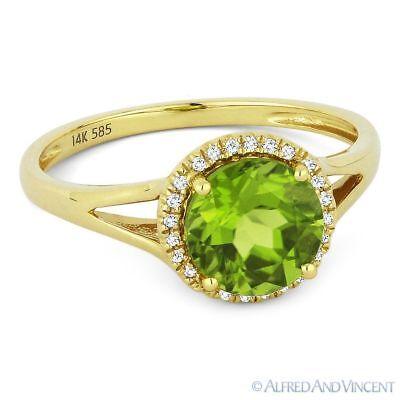 1.49 ct Round Cut Peridot & Diamond Halo 14k Yellow Gold Promise Engagement Ring