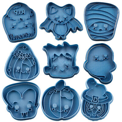 Cortadores De Galletas Halloween (Cuticuter PACK Halloween 9 PCS Cookie cutter Blue Cortador de galletas 9)