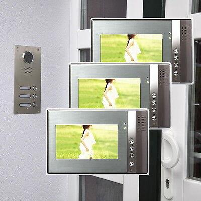 3 Familienhaus Farb Video Türsprechanlage 7 Zoll Monitor LED Nachtsicht Cam 110°
