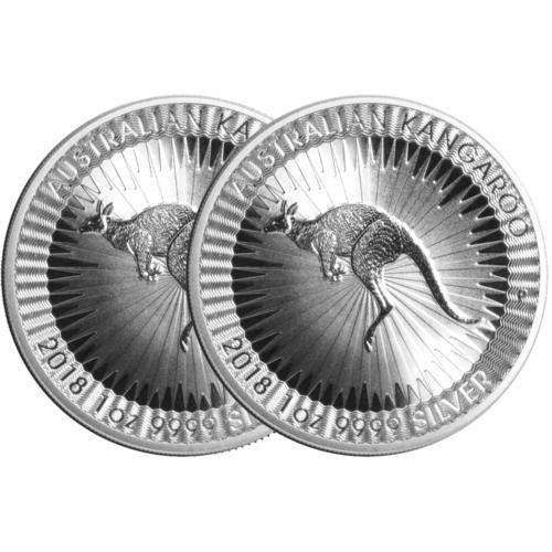 LOT OF 2 - 2018-P $1 SILVER AUSTRALIAN KANGAROO 1 OZ BRILLIANT UNCIRCULATED