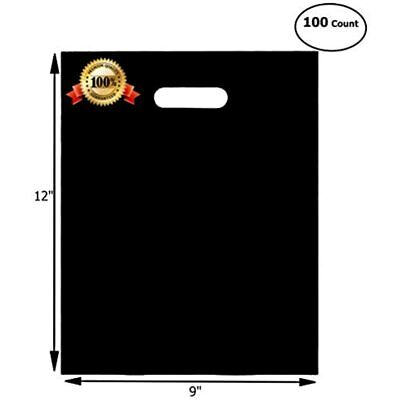 100 Merchandise Bags 9x12 Black, Die Cut Handles, No Gusset, Strong, Durable, Or