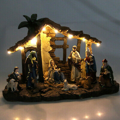 Resin Christmas Nativity Set Scene Figures Baby Jesus 11 Piece Set W/LED Light
