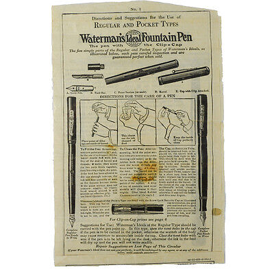 1940's Waterman's Fountain Pen Instructions Directions Old Vintage Paper