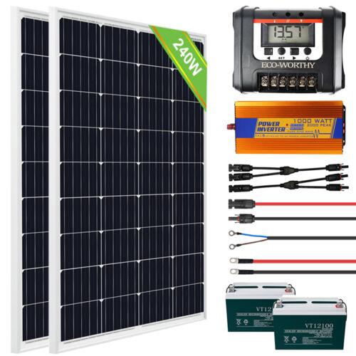 240W 2-120W Watt Solar Panel Complete Kit RV Trailer Camping