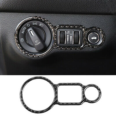 Carbon Fiber Headlight Switch Cover Sticker Trim for Dodge Charger 2010-2019 New Carbon Headlight Covers
