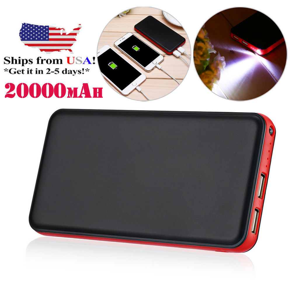 20000mAh 2 USB Portable External Power Bank Battery Charger