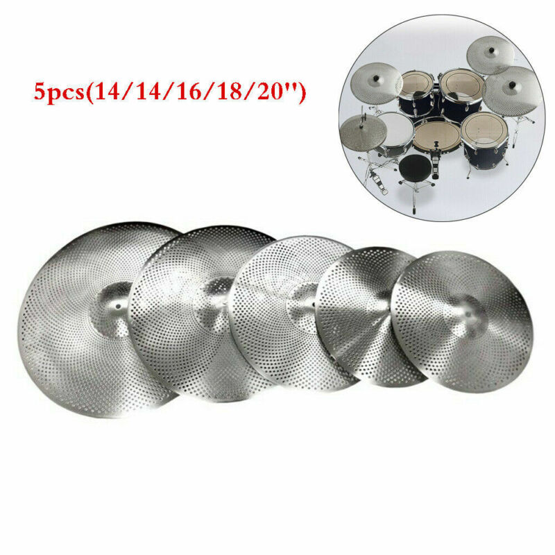 5pcs Low Volume Quiet Silent Cymbal Pack with Sleeved Cymbal Bag 14/16/18/20''