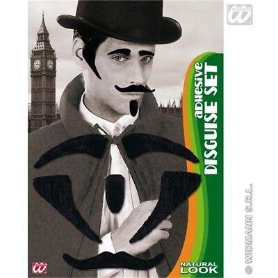 Disguise Set - Tash Eyebrows Sideburns Goatee Black Accessory Moustache Fake - Fake Sideburns