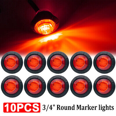 "10X 3/4"" Red Small Round Side Marker lights 3LED Button lamps Truck Lorry RV 12V"
