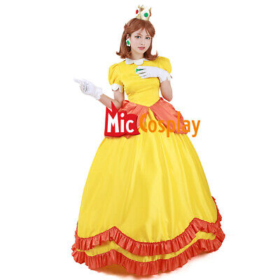 Princess Daisy Cosplay Costume Super Mario BROS Women Yellow Dress  - Daisy Costume
