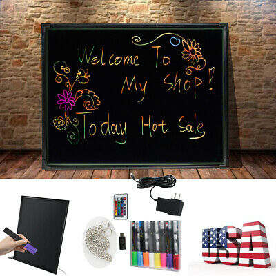 32x24 Illuminated Erasable Neon Led Message Menu Sign Writing Board Us