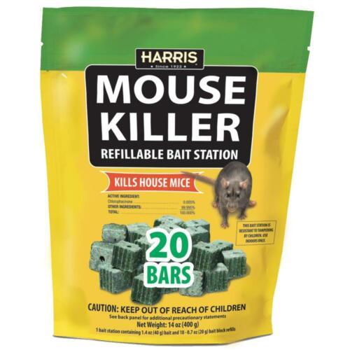 Harris Mouse Killer Bars with Refill Bait Station (20-Pack)