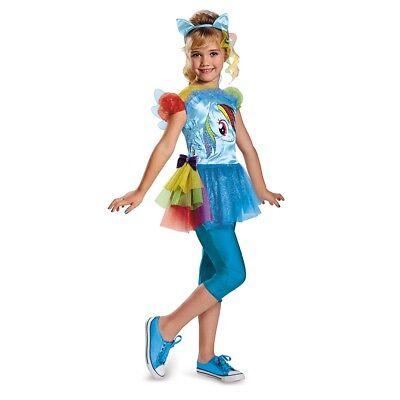 Mädchen Kind Mein Kleines Pony Regenbogen Streifen Klassisch (Klassischen Weiblichen Kostüm)