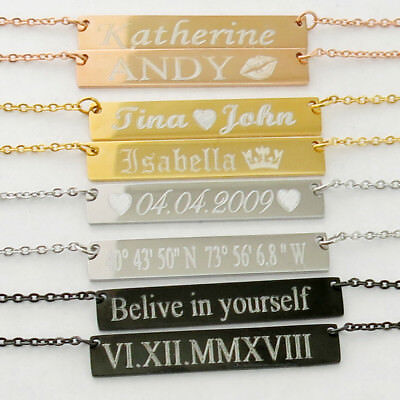 Roman Numeral necklace bar Name necklace Personalized Jewelry Custom Necklace