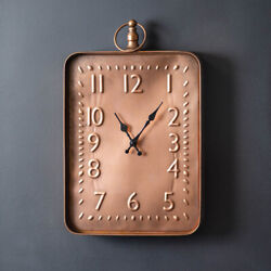 New large Distressed Copper Finish metal Wall Clock