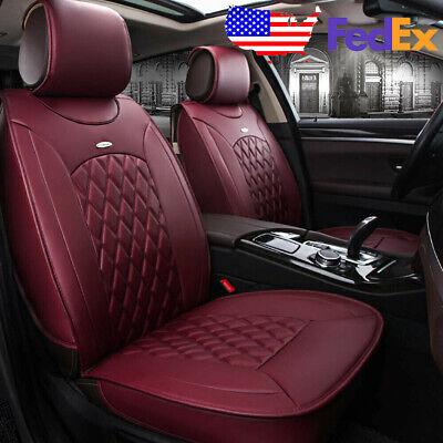 US Universal 5-Seats Car PU Leather Seat Covers Set Front+Rear Diamond Burgundy