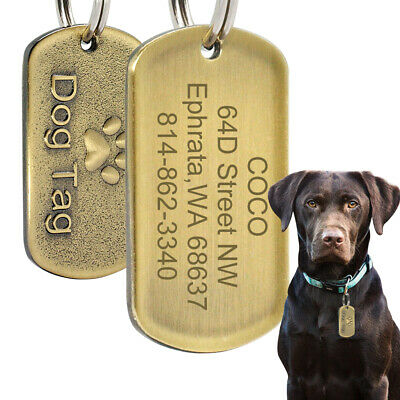 Custom Dog Military Tags Personalized Engraved Dog Name ID Tags Retro Gold Tags