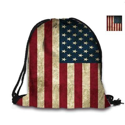 Retro American Flag Bag Draw string Backpack Back pack unisex school US Seller (Drawstring Backpacks)