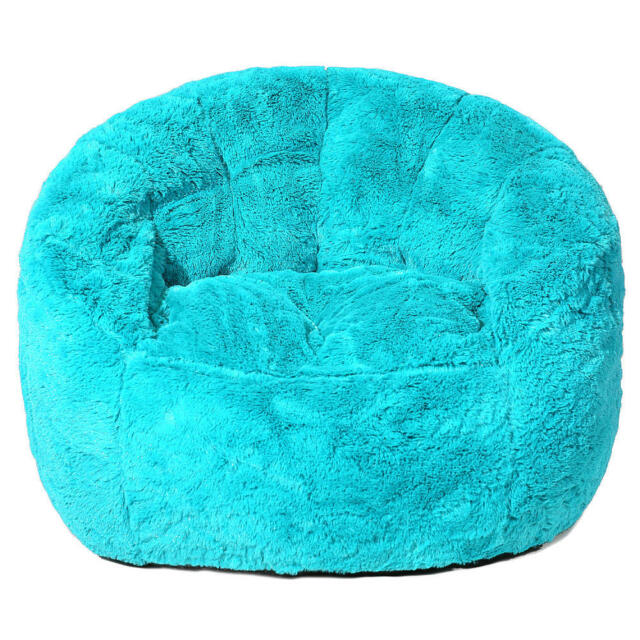Heritage Kids Toddler Rabbit Fur Bean Bag Chair Teal Ebay