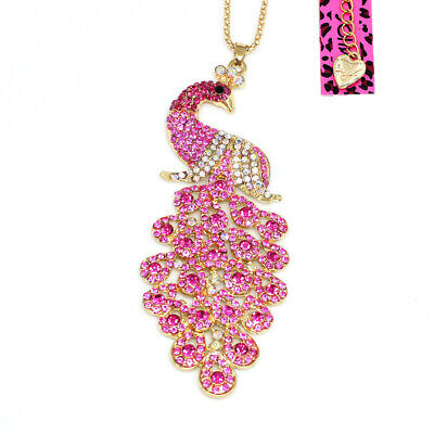 Betsey Johnson Pink Crystal Rhinestone Peacock Pendant Sweater Chain Necklace