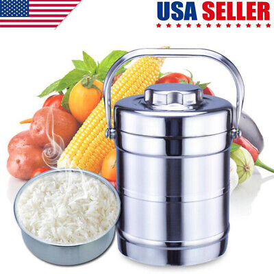 Vacuum Insulated Lunch Box 2 Tier Jar Hot Thermos Food Container Stainless Steel ()
