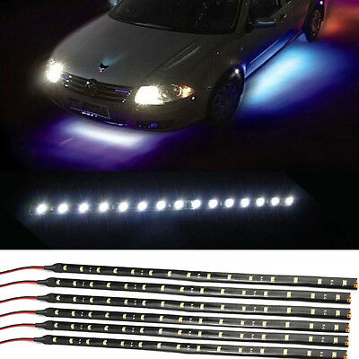 6Pcs White 1Ft/15 LED Car Motors Truck Bike Flexible Strip Light Waterproof 12V