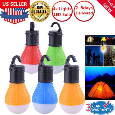 4 Pcs LED Camping Tent Light Bulb Outdoor Portable Hanging Fishing Lantern Lamps