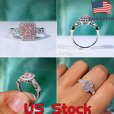 Women Pink Diamond Princess Rings Gift Wedding Engagement Promise Jewelry Party