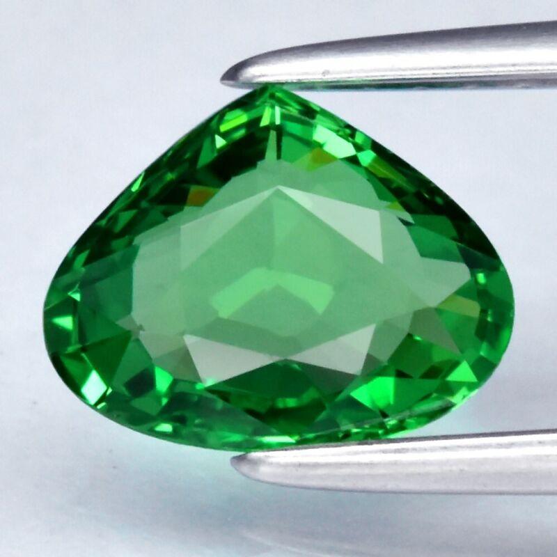 Clarity! 1.05ct 7.6x6mm IF Pear Natural Shocking Green Tsavorite Garnet