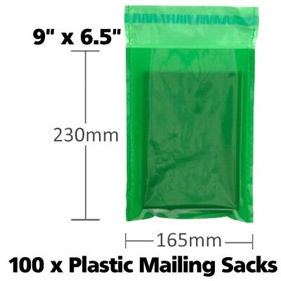 100 x Green Plastic Poly Mailing Sacks Bags Envelopes For Postage Post Self Seal