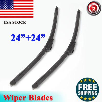 24  24 Inch Bracketless Windshield Wiper Blades J hook Frameless ALL SEASON