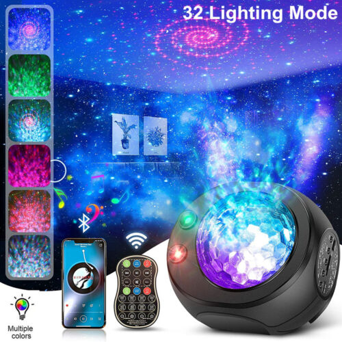 Galaxy Projector Starry Sky Night Light Ocean Star Party Speaker LED Lamp Remote Home & Garden