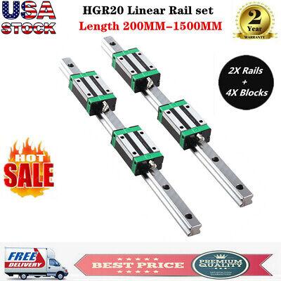 2pcs Hgr20 200mm-1700mm Linear Guide Rail 4pcs Hgh20ca Slider Block For Cnc Us