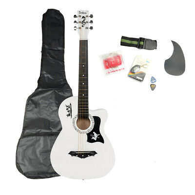 White Acoustic Guitar Learn-to-Play Bundle with Gig Bag, Tuner, Strap