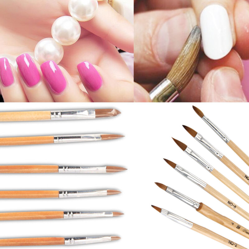 6 Professional Round Sable Acrylic Nail Art Brush Various Size 2/4/6 ...