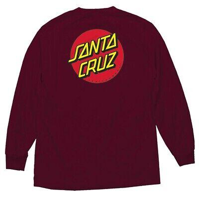 Santa Cruz CLASSIC DOT LONG SLEEVE Skateboard T Shirt BURGUNDY LARGE ()