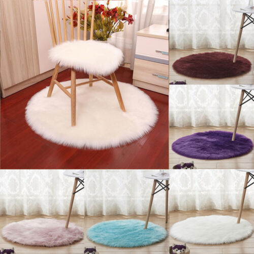 Fluffy Round Shaped Rug Shaggy Floor Mat Soft Faux Fur Home