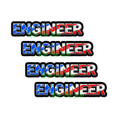 Engineer Us Flag Lunch Box Hard Hat Tool Box Helmet Sticker 4 Pack 3 Inch