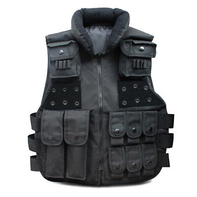 Black Tactical Vest Camo Military Police Hunting Combat Carrier Security -