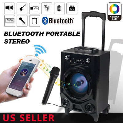 PA Party Speaker System Bluetooth Big Led Portable Stereo Tailgate Loud With Mic Party Portable Bluetooth
