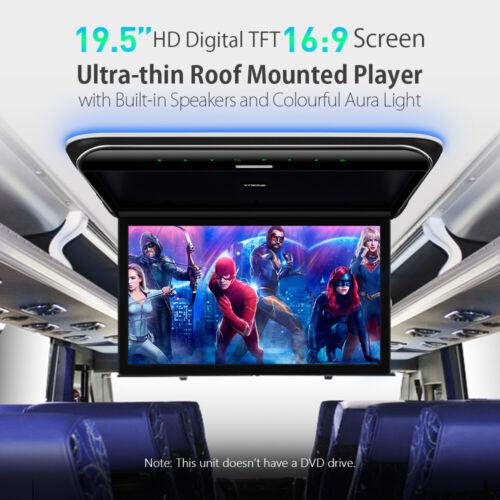 "19.5"" Flip Down Car Roof Monitor Ceiling Overhead HD TFT Screen 1080P USB HDMI"