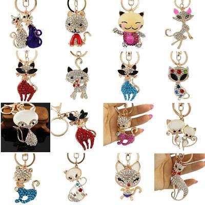 Rhinestone Cat Sparkling Charm Keychain Bag Handbag Key Ring Car Key (Sparkling Cat)